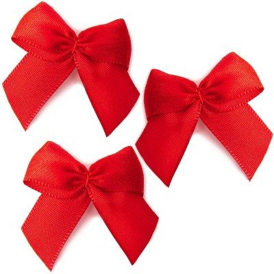 Bright Creations 200-Pack Mini Satin Ribbon Bow w/ Self-Adhesive Tape for Arts and Crafts, Sewing & Gift, Red 1.5""