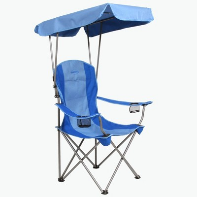 Kamp-Rite KAMPCC466 Outdoor Camping Furniture Beach Patio Sports Folding Quad Lawn Chair with Shade Canopy and Cup Holders, Blue