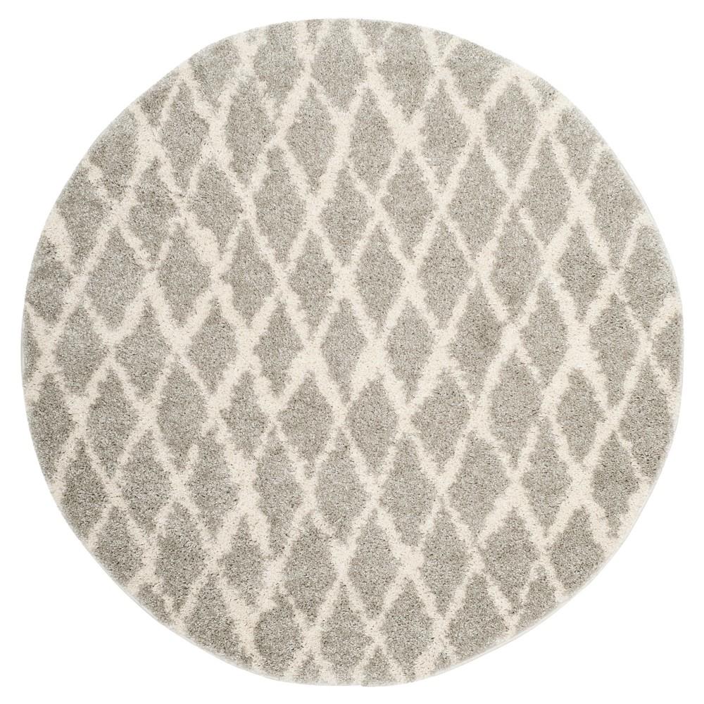 Light Cream Trellis Loomed Round Area Rug 5'1 - Safavieh, Gray Off-White