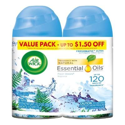 Air Wick Freshmatic Automatic Spray Air Freshener, Fresh Waters Scent, Twin Refills, 6.17oz