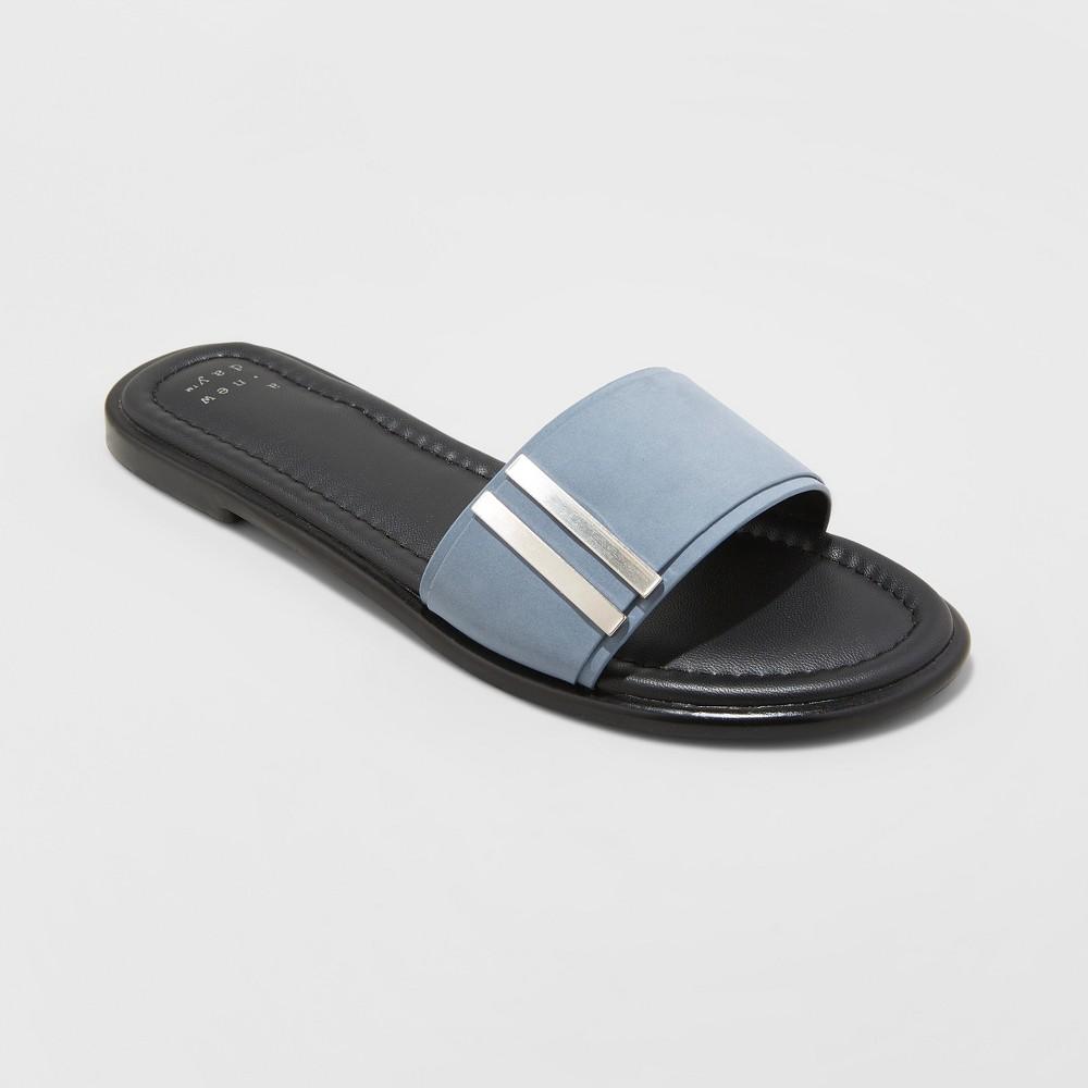 Women's Tess Slide Sandals - A New Day Blue 10