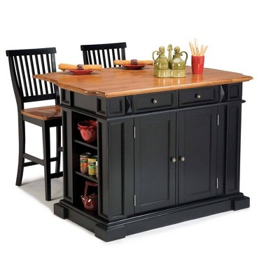 Kitchen Island and Stool Set Black/Oak - Home Styles