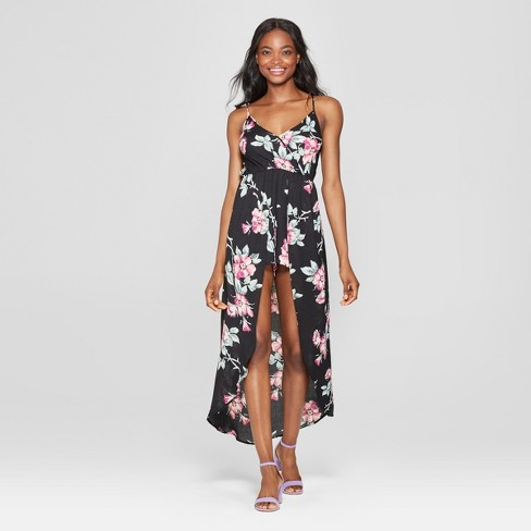Women's Floral Print Walk Through Romper - Lily Star (Juniors') Black - image 1 of 2