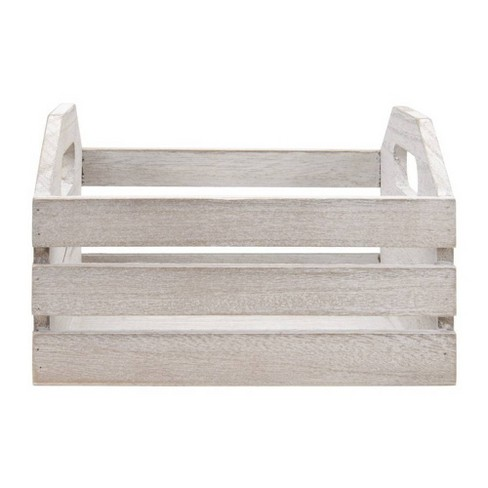 """7"""" x 7"""" x 4.5"""" The Media Wooden Crate - Weathered with Cutout Handles - image 1 of 1"""
