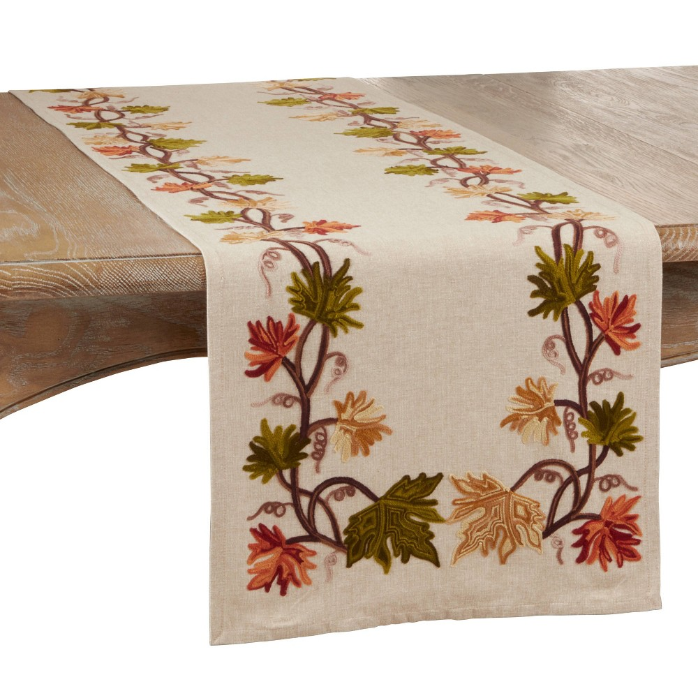 "Image of ""72"""" x 16"""" Cotton Embroidered Leaf Table Runner - Saro Lifestyle"""