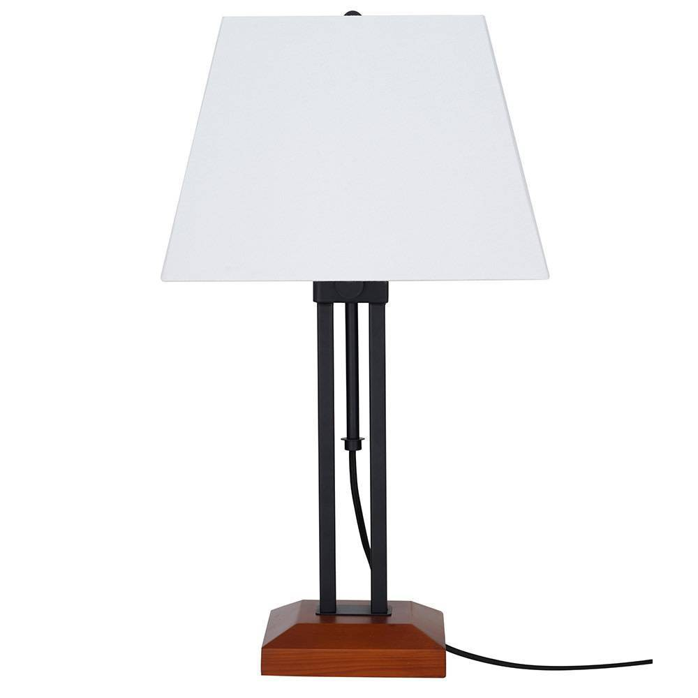 Image of Adjustable Wood Table Lamp Matte Black (Includes Energy Efficient Light Bulb) - Cresswell Lighting