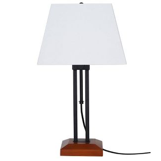 Adjustable Wood Table Lamp Matte Black (Includes Energy Efficient Light Bulb) - Cresswell Lighting