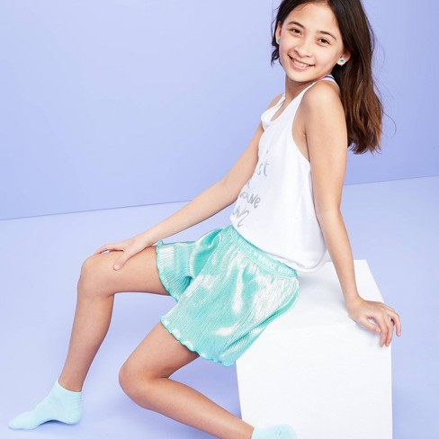 Girls' Shiny Pleates Pajama Shorts - More Than Magic™ Aqua XL - image 1 of 3