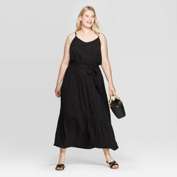 Women's Plus Size Sleeveless V-Neck A-Line Maxi Dress - Ava & Viv™