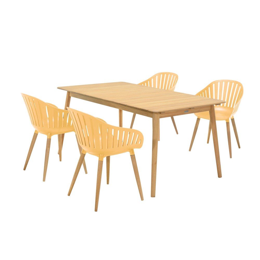 5pc Nassau Outdoor Dining Set In Natural Wood Finish Table And Honey Yellow Arm Chairs Armen Living