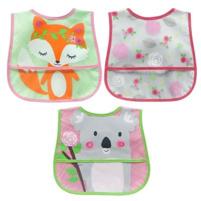 Neat Solutions 3pk Printed Translucent Peva/ Knit Baby Bib Set - Green