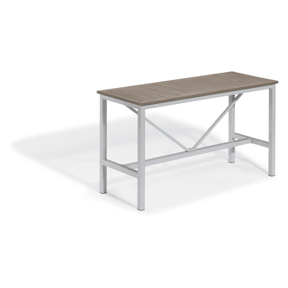 "Image of ""72"""" Travira Rectangular Bar Table with Powder-Coated Aluminum Frame and Tekwood Vintage Top - Oxford Garden"""