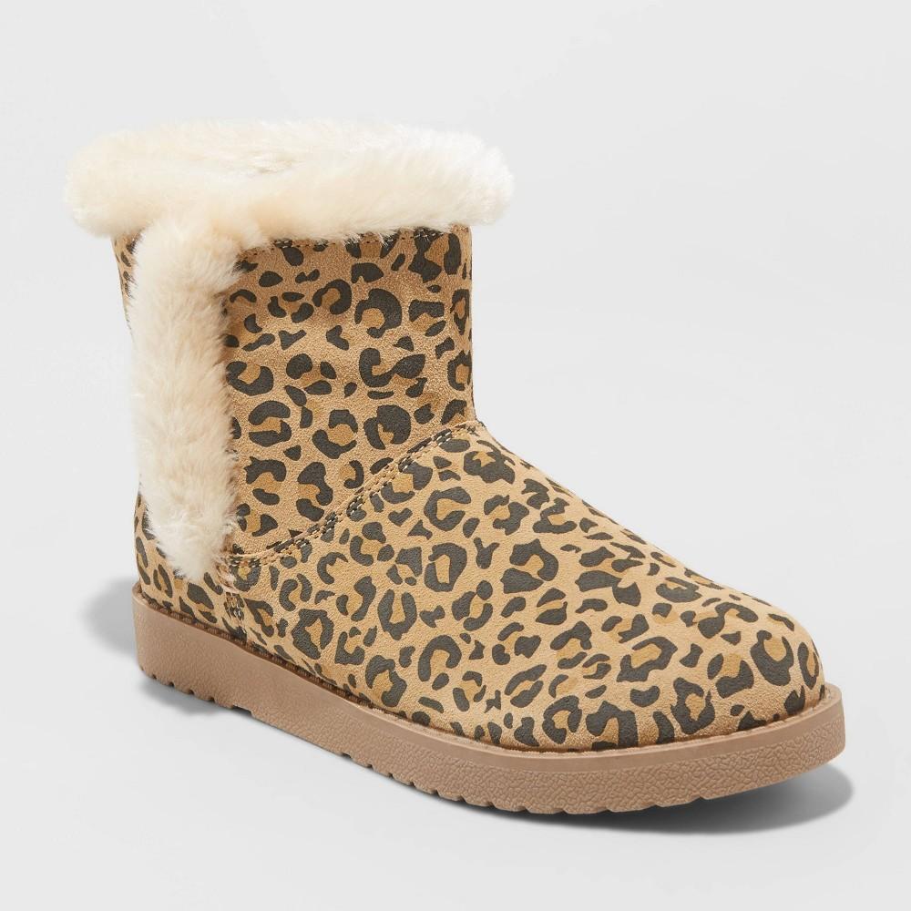 Image of Women's Bellina Wide Width Leopard Print Suede Short Boots - Universal Thread Brown 6W, Women's, Size: 6 Wide