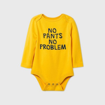 Baby Boys' 'No Pants No Problem' Long Sleeve Bodysuit - Cat & Jack™ Yellow 0-3M