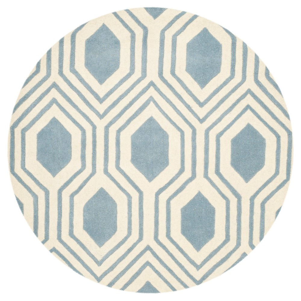 Blue/Ivory Geometric Tufted Round Area Rug 5' - Safavieh