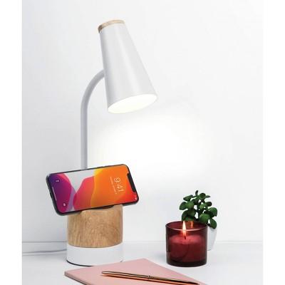 Wood Trim Desk Lamp (Includes LED Light Bulb) Brown/White - Merkury Innovations