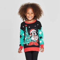 Toddler Girls' Minnie Mouse Ugly Holiday Sweater - Black