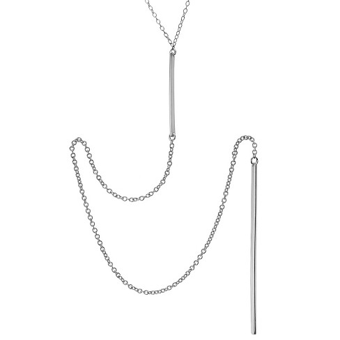 "Women's Journee Collection Rhodium-plated Bar Drop Necklace in Sterling Silver - Silver (18"") - image 1 of 2"