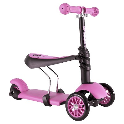Yvolution Y Glider 3-in-1 Scooter with Removable Seat - Pink