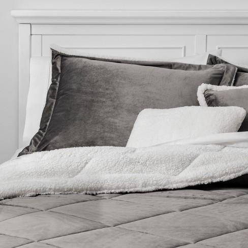 5pc Full Queen Stockholm Velvet Reverse To Sherpa Comforter Set Gray