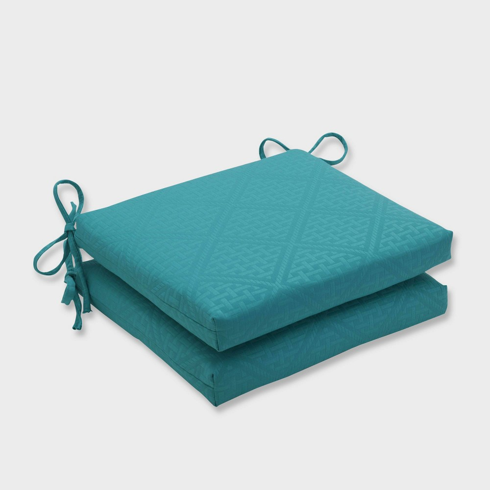 2pk Paragon Maui Squared Corners Outdoor Seat Cushions Green - Pillow Perfect