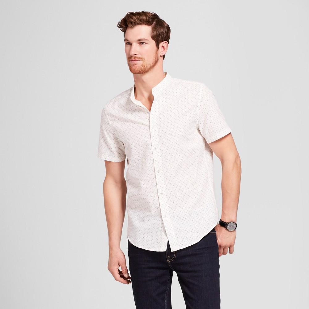 Men's Standard Fit Short Sleeve Woven Button-Down Shirt - Goodfellow & Co White Sand L