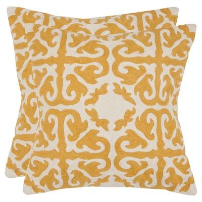 Mustard Set Throw Pillow (18 x18 )- Safavieh®