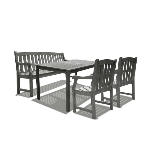 Awesome Vifah Renaissance Rectangular Table Bench Arm Chair Outdoor 4Pc Dining Set Gray Gmtry Best Dining Table And Chair Ideas Images Gmtryco