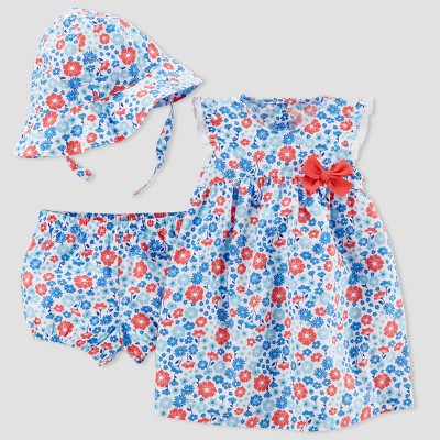 Baby Girls' 2pc Floral Dress Set - Just One You® made by carter's Blue/Red Newborn