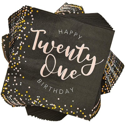 """Sparkle and Bash 100Pcs Happy 21st Birthday Party Paper Disposable Napkins 6.5"""" Birthday Decorations, Party Supplies"""