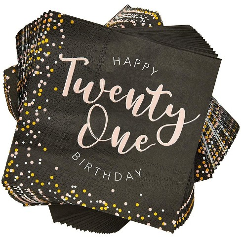 """Sparkle and Bash 100Pcs Happy 21st Birthday Party Paper Disposable Napkins 6.5"""" Birthday Decorations, Party Supplies - image 1 of 3"""