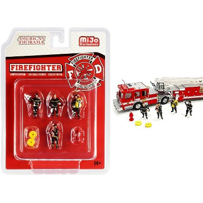 """""""Firefighter"""" 7 piece Diecast Set (4 Figurines and 3 Accessories) for 1/64 Scale Models by American Diorama"""