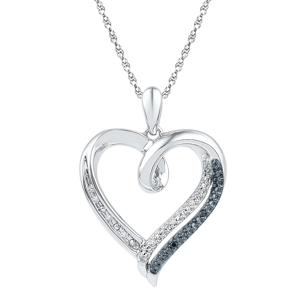 1/20 CT. T.W. Round Diamond Prong and Nick Set Heart Pendant in Sterling Silver - Black/White, Girl's