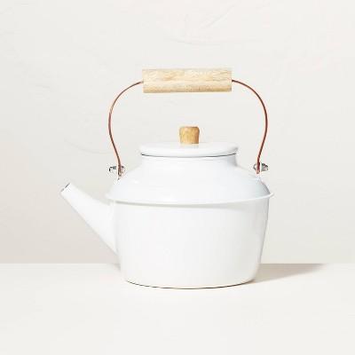 5qt Steel Stovetop Tea Kettle Sour Cream/Copper - Hearth & Hand™ with Magnolia