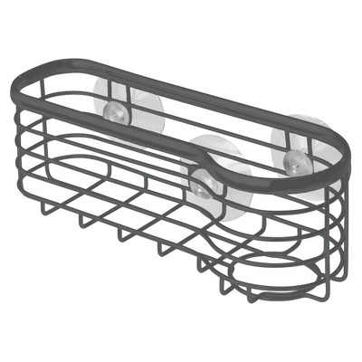 mDesign Metal Kitchen Sink Center Storage Caddy, Suction Mount