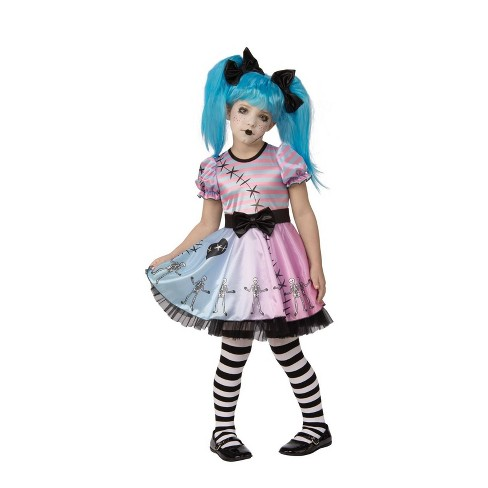 Girls' Little Blue Skelly Halloween Costume - image 1 of 1