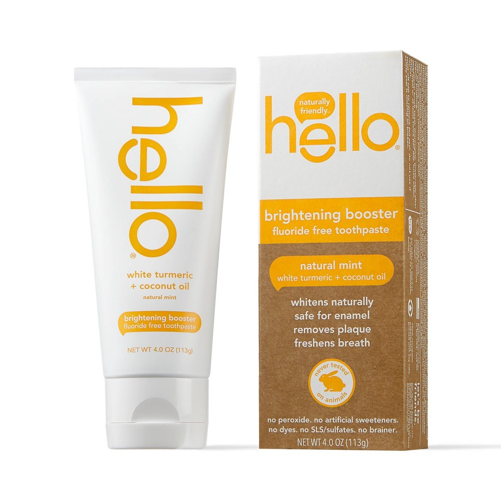 Hello Brightening Booster White Turmeric Natural Mint Fluoride Free Toothpaste 4oz