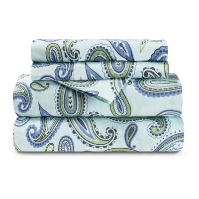 Heavyweight Cotton Paisley Deep Pocket Sheet Set - Blue Nile Mills