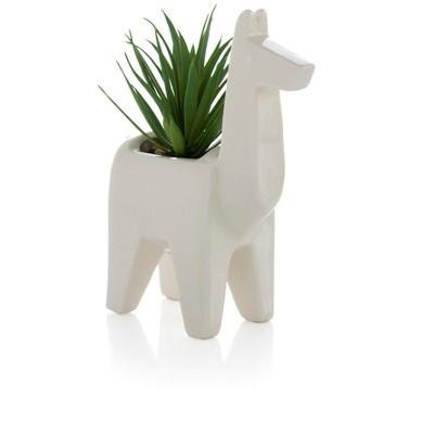 Llama Planter With Faux Plant  - White - Shiraleah