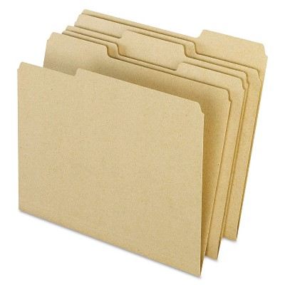 Pendaflex Earthwise Recycled Colored File Folders 1/3 Top Tab Letter Natural 100/BX 04342