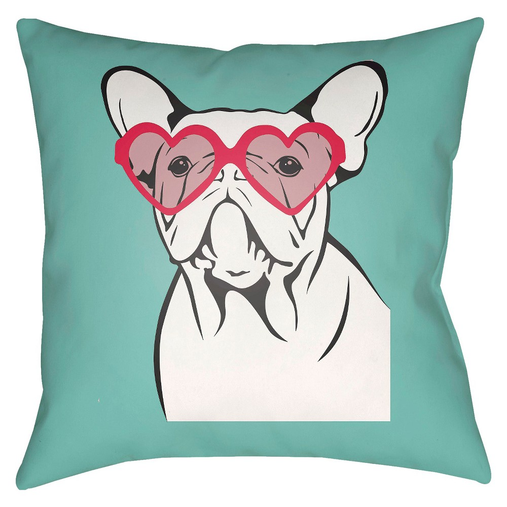 Turquoise Puppy Love Throw Pillow 18
