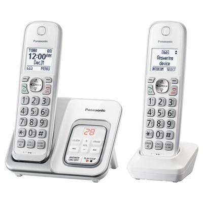 Panasonic Comfort Cordless Telephone with Digital Answering Machine 2 Handsets - White (KX-TGD532W)