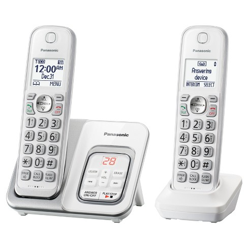 Panasonic Comfort Cordless Telephone with Digital Answering Machine 2 Handsets - White (KX-TGD532W) - image 1 of 2