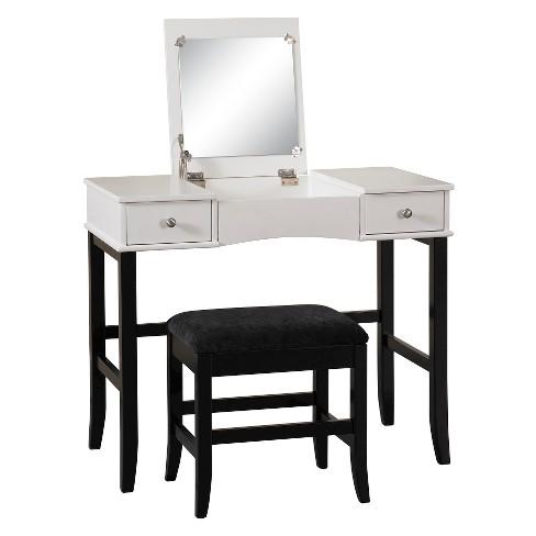 extraordinary black bedroom vanity   Vanity Black/White - Linon Home Decor : Target