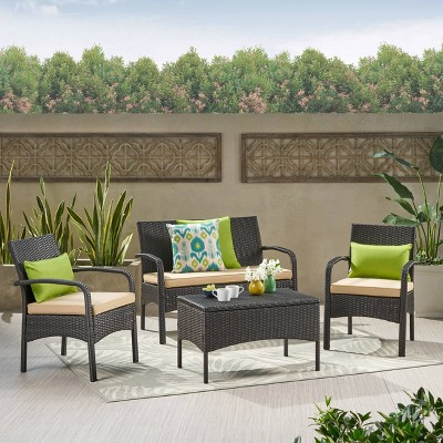 Cordoba 4pc Wicker Patio Chat Set with Cushions - Brown with Tan Cushions - Christopher Knight Home