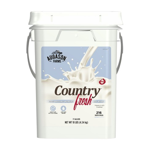 Augason Farms Country Fresh® 100% Real Nonfat Milk Certified Gluten Free Emergency Bulk Food Storage 4-Gallon Pail 216 Servings - image 1 of 7