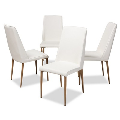 Set of 4 Chandelle Modern and Contemporary Faux Leather Upholstered Dining Chairs - Baxton Studio