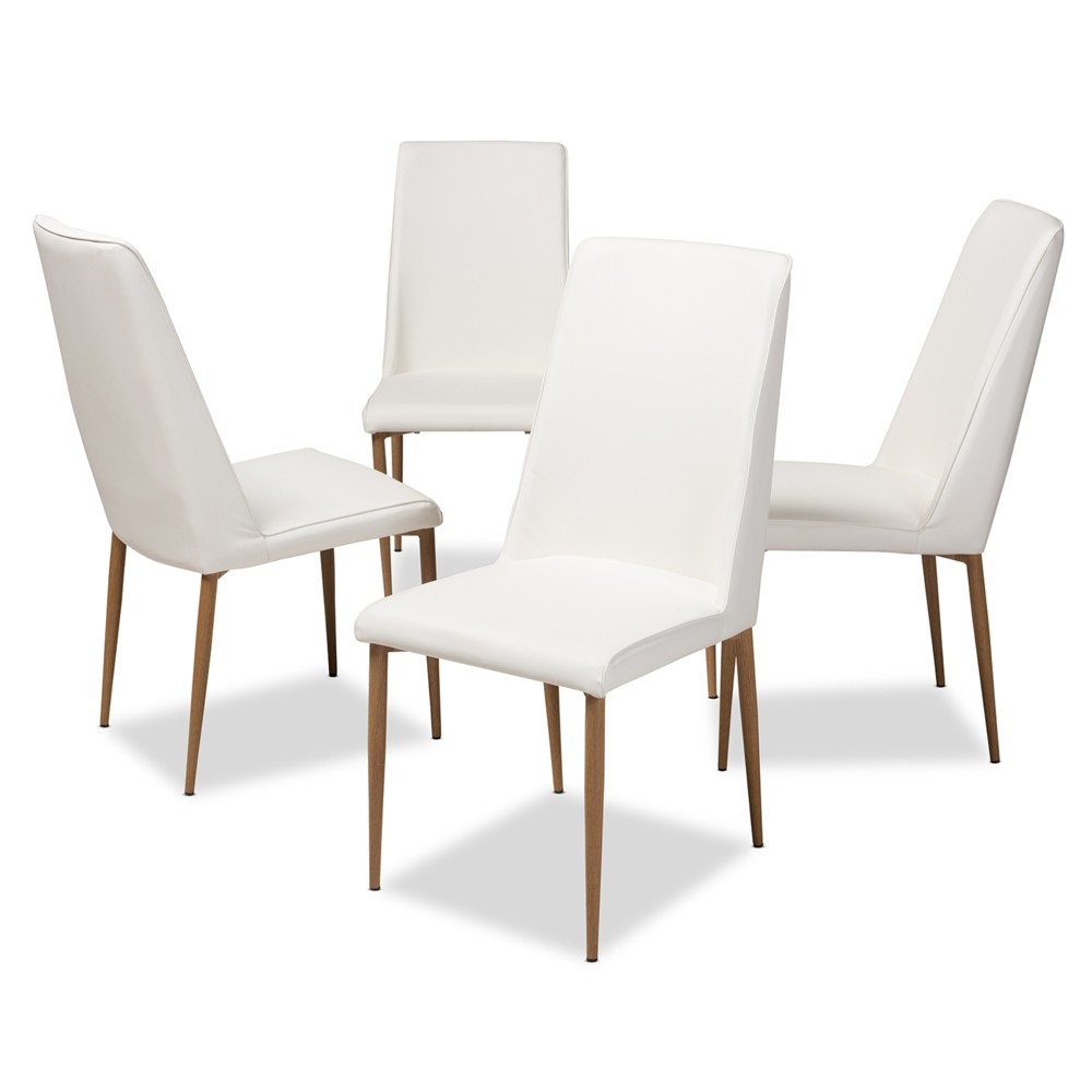Chandelle Modern and Contemporary Faux Leather Upholstered Dining Chairs Set of 4 White - Baxton Studio