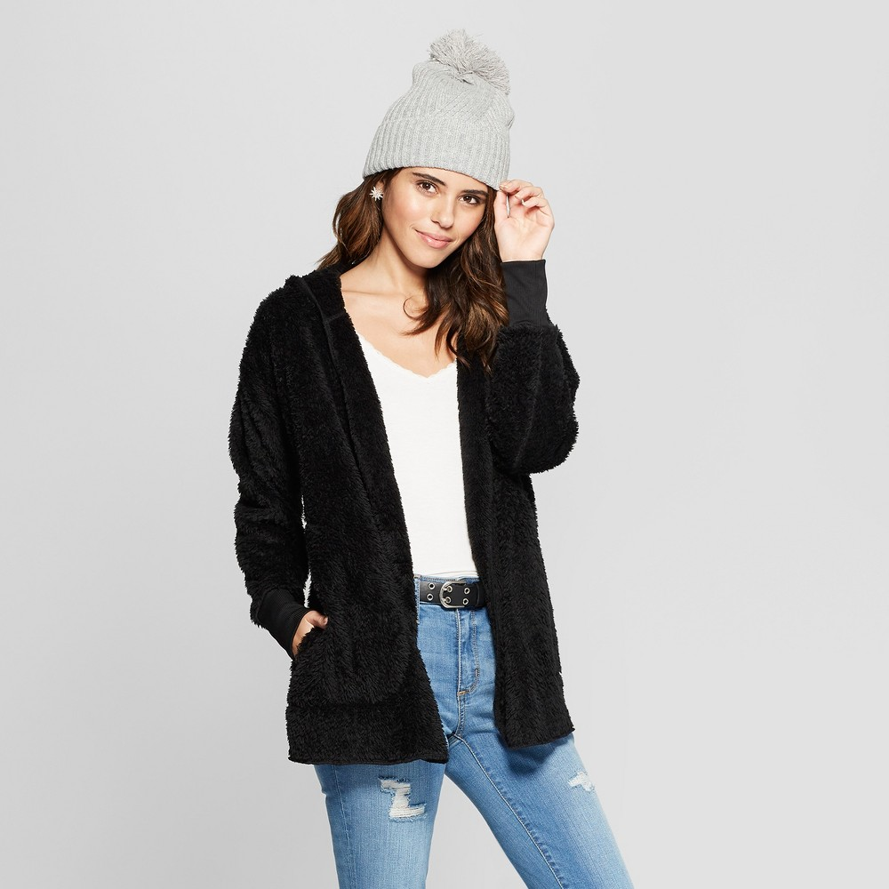 Women's Sherpa Cozy Cardigan - Almost Famous (Juniors') Black L
