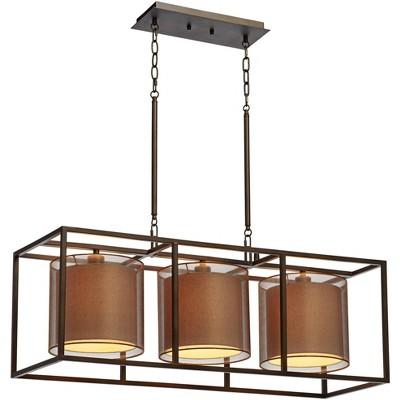 "Possini Euro Design Oil Rubbed Bronze Rectangular Linear Island Pendant Chandelier 37"" Wide 3-Light Modern Double Shade Kitchen"